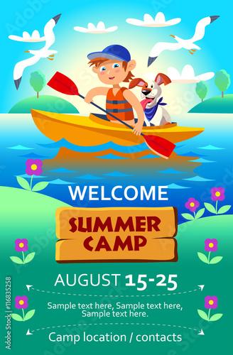 Cadres-photo bureau Avion, ballon Kid's summer camp poster or flier. Vector illustration in cartoon style