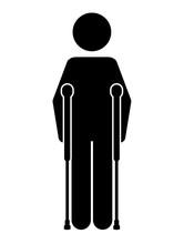 Crutches Person  Isolated Icon...