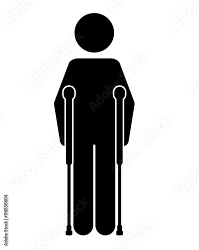 crutches person  isolated icon design, vector illustration  graphic Canvas Print