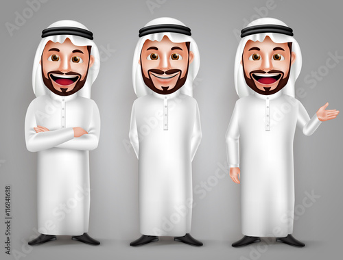 Saudi arab man vector character set with different friendly gesture and professional pose for business purpose Fototapet