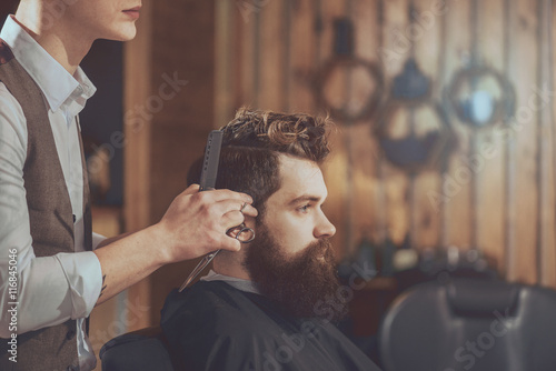 Modern hairstyle industry Wallpaper Mural
