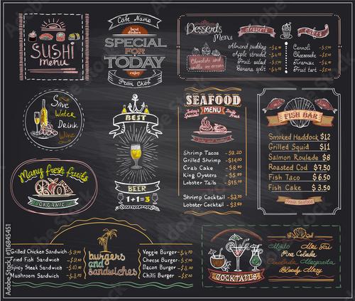 Chalk menu list blackboard designs set for cafe or restaurant Wall mural