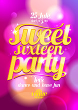 Sweet Sixteen Party Design With Gold Letters.