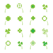 Clover Leaves Vector Set Or Co...