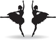 Set Of Ballet Dancers Silhouet...