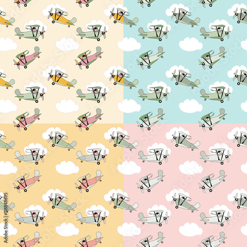 Cotton fabric Retro cartoon airplane  seamless pattern