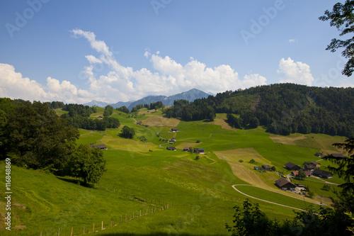 Fotobehang Rijstvelden Schweizer Landschaft