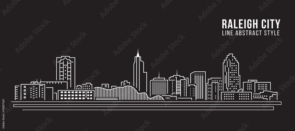 Fototapety, obrazy: Cityscape Building Line art Vector Illustration design - Raleigh City