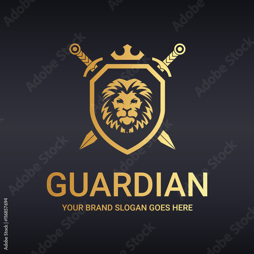 Photo  Guardian logo. Lion shield. Warrior logo.
