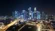 Twilight to night of Singapore cityscape Modern buildings of city downtown 4K