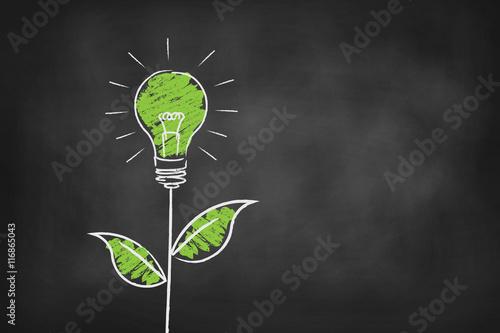 Green energy light bulb chalk board vector background Fototapete