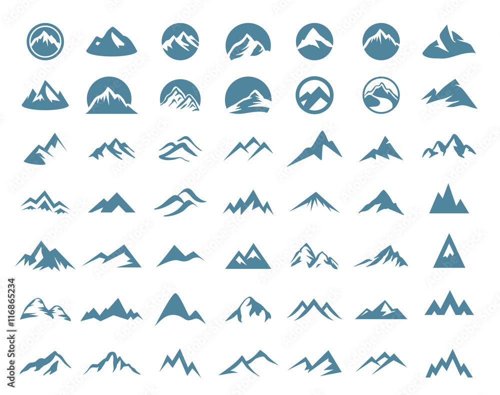 Fototapety, obrazy: Mountains logo icon set