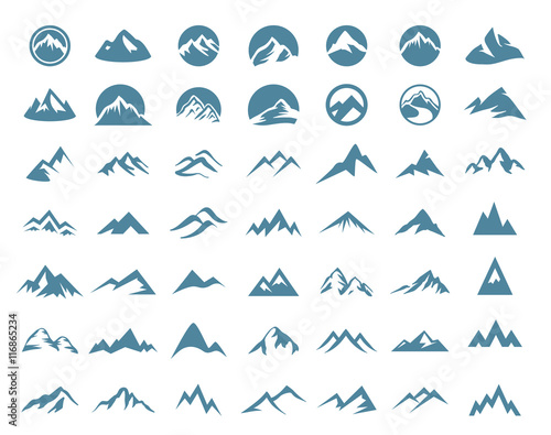 Mountains logo icon set
