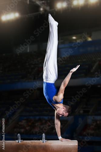 Poster de jardin Gymnastique portrait of young man gymnasts