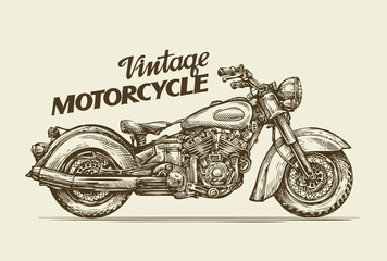 Panel Szklany Podświetlane Motor Vintage motorcycle. Hand drawn sketch retro motorbike. Vector illustration