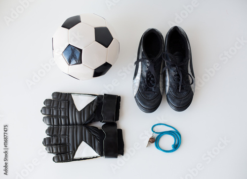 Fényképezés close up of soccer ball, gloves, whistle and boots