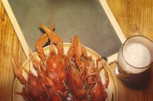 Boiled Crawfish, Glass Of Ligh...