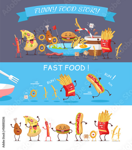 Funny Fast Food Cartoon Vector Illustration.