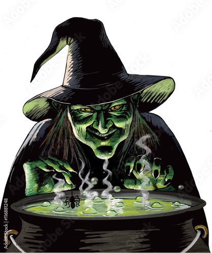 Evil Witch and Cauldron - Buy this stock illustration and explore