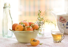 Apricots In Bowl On Table