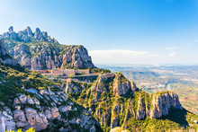 View Of The Monastery Of Montserrat In Catalonia, Near Barcelona. Panorama From The Top Of The Mountain.