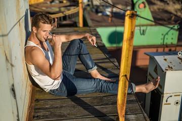 Stylish smoker outdoors
