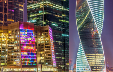 Fototapeta Moskwa Night view of the Moscow International Business Center, also referred to as Moscow City is a commercial district in central Moscow, Russia.