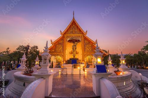 Keuken foto achterwand Temple Beautiful temple in sunset scene at Chiang mai , Thailand