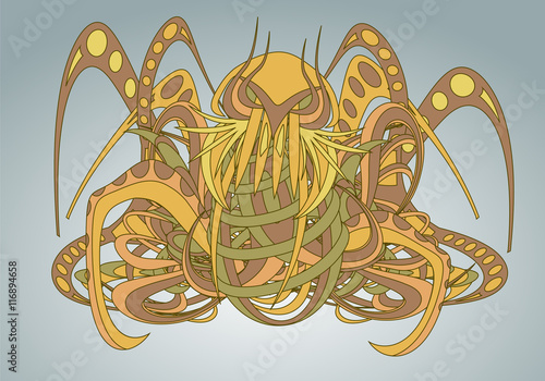 Patterned fantastic creature Cthulhu Poster