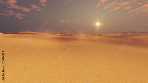 Poster de jardin Desert de sable Barren dunes in sandy african desert at sunset with haze and sun disk on horizon. 3D illustration.