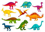 Fototapeta Dinusie - Dinosaurs cartoon collection. Vector animals