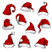 Santa Christmas Red Hats Set