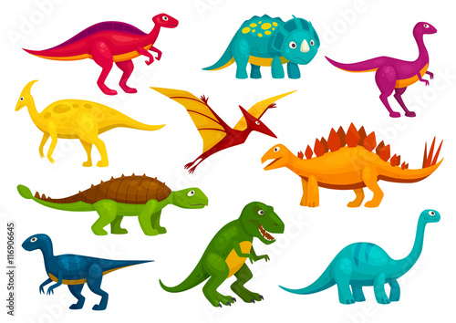 Photo  Dinosaurs cartoon collection. Vector animals