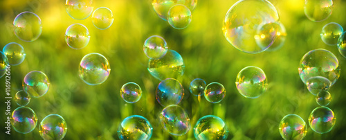 Fotografia  Air bubbles on grass background. Abstract background
