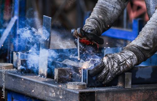 Fotografie, Obraz  Arc welding of a steel in factory