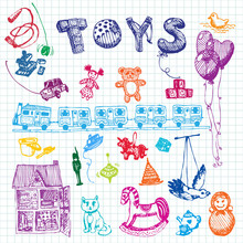 Doodle Hand Drawn Toys. Colored Illustration, Notebook Background. Design, Shop, Ad, Child, Kindergarten, Elementary School.
