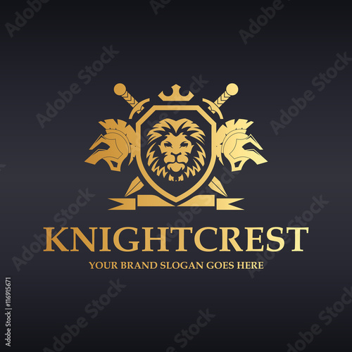 Plagát  Knight Crest Logo. Heraldic lions with shield, sword and ribbon.