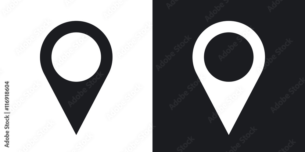 Fototapeta Map pointer icon, stock vector. Two-tone version on black and white background