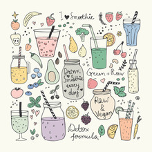 Smoothie And Raw Food Collection. Hand Drawn Vector Doodles