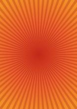 Orange Ray Sunburst Style Abstract Background. Retro Rays Background. Orange Rays On A Yellow Background. Vector Vintage Background
