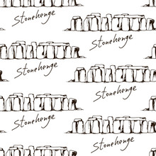 Seamless Pattern With Freehand Sketch Of Stonehenge In Wiltshire