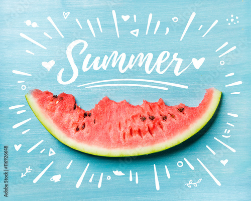 Summer concept illustration. Slice of watermelon on turquoise blue background, top view. White lettering inscription