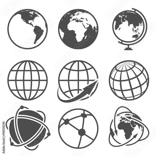 Fototapeta Globe earth vector icons set obraz