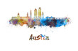 canvas print picture - Austin skyline in watercolor