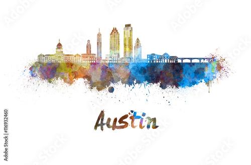 Austin skyline in watercolor Canvas Print