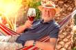 canvas print picture - Mann mit einem Glas Wein