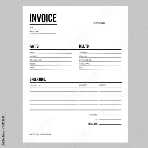 Invoice Business Template Letter USA Standard Paper Buy This - Invoice requirements usa