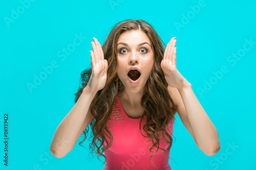 Fotografie, Obraz  Portrait of young woman with shocked facial expression