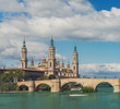 Basilica Our Lady Pillar In Zaragoza With The Bridge And River