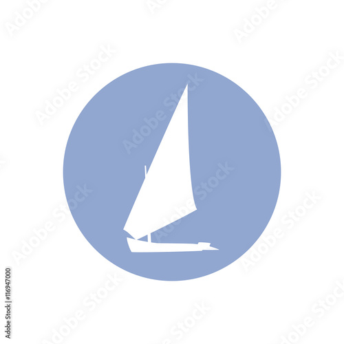 Vector illustration Yacht silhouette in a circle - Buy this